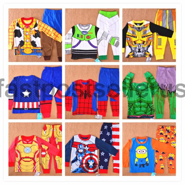 Boys Toddler Kids Pajamas Pyjamas Snug Outfit T-shirt Costume Party  Set 1-6