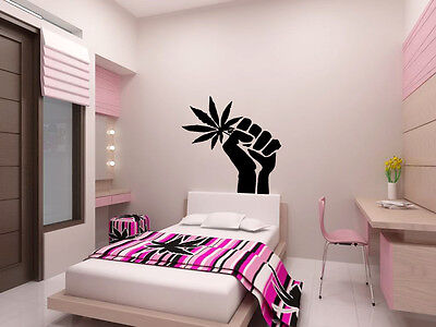 Marijuana Fist Wall Art Decal Vinyl Sticker Decor Mural Transfer Weed Cannabis