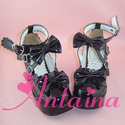 schwarz lolita Schuhes Schuhe gothic Stöckel cosplay MOON PHASE ciel bat cave Lack