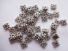 40//80pcs Tibetan Silver 3 Hole Daisy Flower Connector Spacer Beads 5x13mm