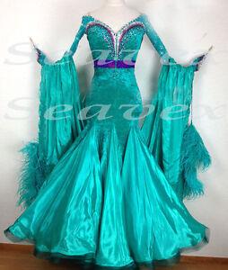Ballroom-Standard-Waltz-Tango-UK8-US6-Dance-Dress-B3170-green-Velvet-Sleeve