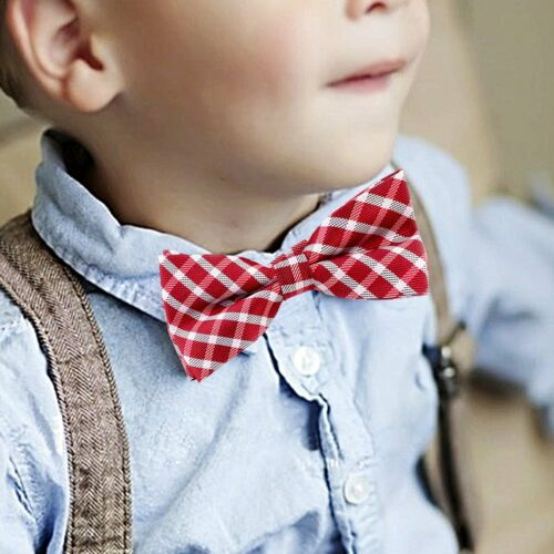 Children Kids Boys Toddler Infant Tartan Bowtie Pre Tied Wedding Bow Tie Necktie