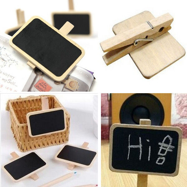 10 Cute Mini Blackboard Chalkboard Office Home Wooden Message Labels Holder Clip