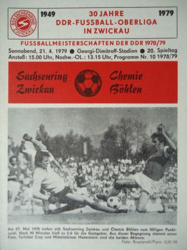 Programm 1978//79 BSG Sachsenring Zwickau Chemie Böhlen