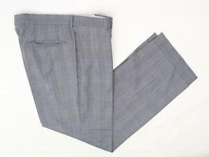 Hugo-Boss-Hombre-Pantalon-Elegante-37x32-Azul-Gris-Glen-de-Cuadros