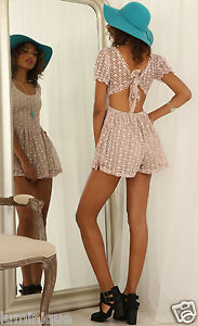 Diamond-Cut-out-Lace-Overlay-Open-Back-Playsuit-L-12-14-DUsty-Romper-Dress-Sexy