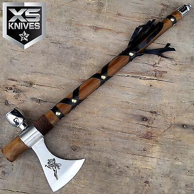 "19"" Tomahawk Non Functional Peace Pipe Axe Wooden Handle Hatchet"
