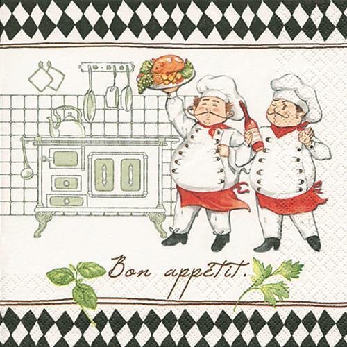20 Servietten Jacques and Luigi In der Küche Motivservietten Pizzeria Tischdeko