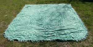 VINTAGE-King-POLYESTER-CHENILLE-Bedspread-MID-CENTURY-Green