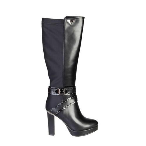 LAURA BIAGIOTTI Stivali donna scarpe invernali tacco largo simil pelle nero DD