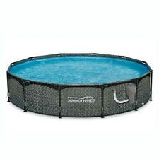 "Summer Waves 12' x 33"" Outdoor Round Frame Above Ground Swimming Pool with Pump"