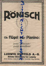 LEIPZIG, Werbung 1924, Ludwig Hupfeld AG Karl Rönisch Flügel & Pianos Klavier In