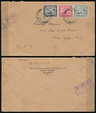 MALAYA SELANGOR BATU CAVES 1941 WW2 CENSOR 2 + WILKINSON PROCESS ENVELOPE to USA