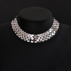 Punk-Women-Jewelry-Silver-Gold-Tone-Link-Chain-Chunky-Choker-Statement-Necklace