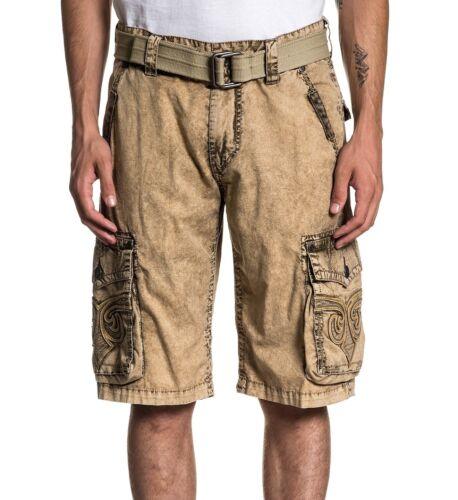 AFFLICTION Men/'s Khaki Dye Fleur de Lis Revival Cargo Shorts Pants with Belt