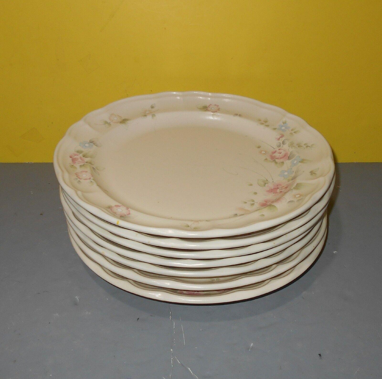 Pfaltzgraff Tea pink Fluted Edge Dinner Plates 10  USA Set of 7