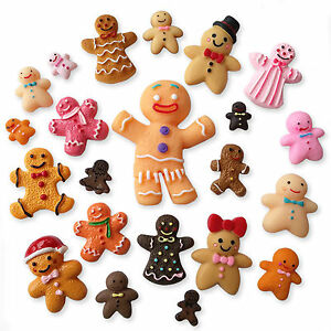 Details About 10 25 Pc Christmas Gingerbread Man Resin Flatback Decoden Cabochons Set Mix Xmas