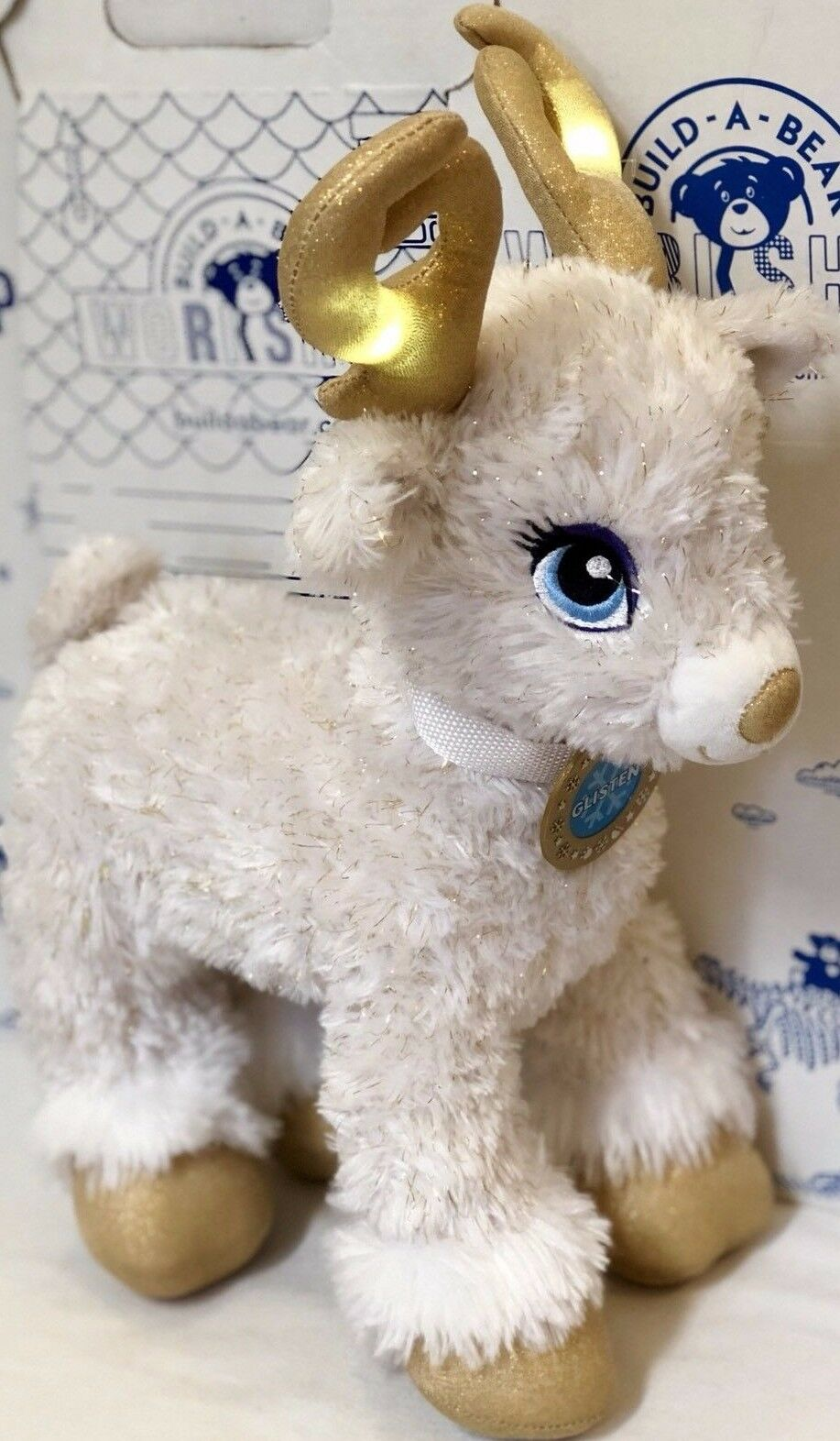 Build A Bear Glisten Reindeer Lights Up Antlers Holiday Christmas Plush Doll Toy