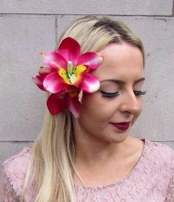Large Sky Light Blue Orchid Flower Hair Clip Rockabilly 1950s Fascinator 3231