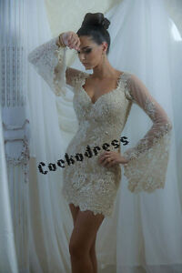 fde17493813 Sheer Long Sleeves Short Lace Bridal Gown Above Knee Length Beach ...