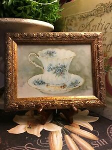 Vintage-Teacup-Art-On-Board-Detailed-Resin-Gold-Frame-French-Country-Cottage