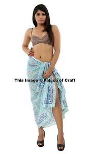 Long 100/% Cotton Sarong with Flower Design Cover Up Wraparound Beach Skirt Wrap