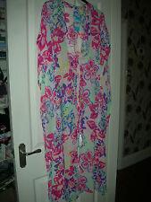 TU full length coverup in bright multi floral 'chiffon' fabric Size M