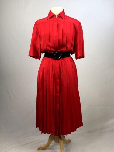 Vintage Original 1980's Bright Red 100% Silk Dress