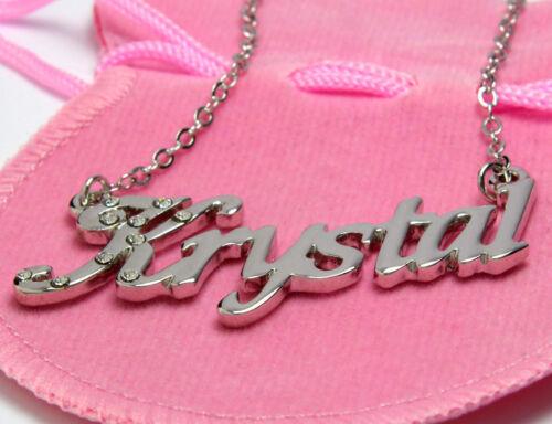 "18ct White Gold Plated Name Necklace /""KRYSTAL/"" Birthday Identity Wedding"