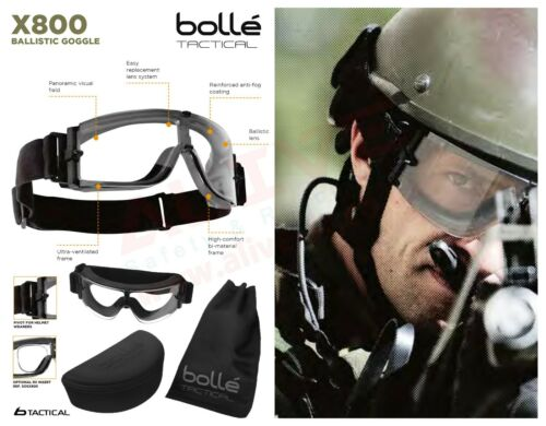BOLLE X800 Tactical Ballistic Occhiali-Airsoft Paintball D/'ASSALTO MILITARE DELL/'ESERCITO