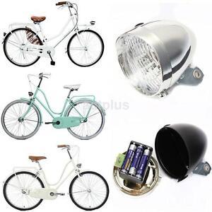 04ff6c36f28 Retro Bike Vintage Front Light Bicycle 3 LED Headlamp Battery Power ...