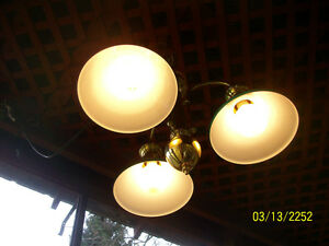 Details About Slightly Used American Made 3 Socket Br Ceiling Fixture Gr Gls Overlay Shades