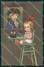 Colombo Art Deco Girl Radio Volta serie 2077 postcard cartolina QT6571