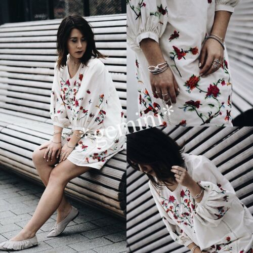 ZARA SEIDE MINI KLEID BLUMEN STICKEREI TUNIKA SILK FLORAL EMBROIDERED DRESS