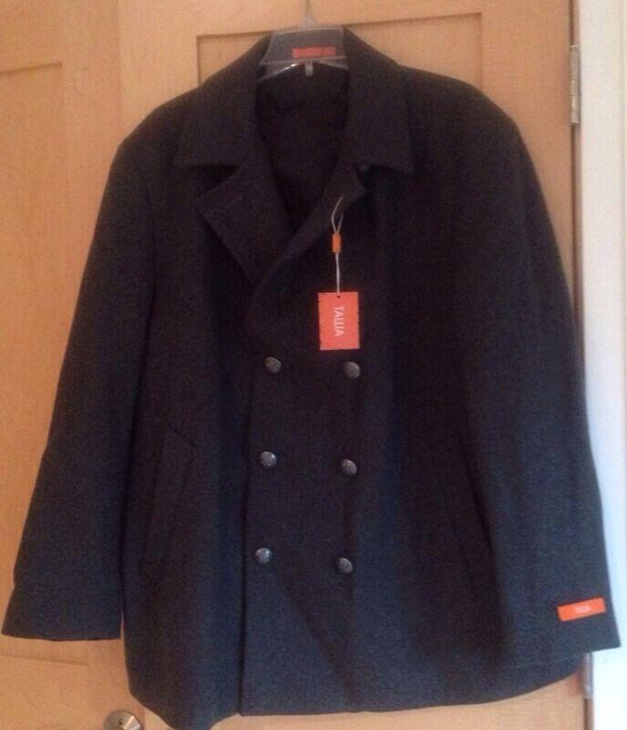 NWT  Herren Tallia Orange Charcoal grau Wool Walking Peacoat Coat Größe XX-Large