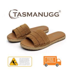 358f0d89745 Details about Tasman Tassel slides, leather slippers, slip-resistant,  women/ladies,Chestnut CL