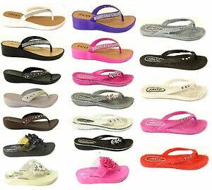New Womens Ladies Diamante Flat Summer Sandal Flip Flops Beach Wedge Jelly Shoes Women's Shoes