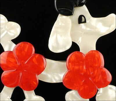 Creme Lea Stein Signed Poodle Brooch Pin Red Black