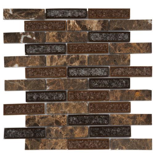 Emperador Brown Marble Mosaic Tile Crackle Glass Brick Joint Kitchen Backsplash