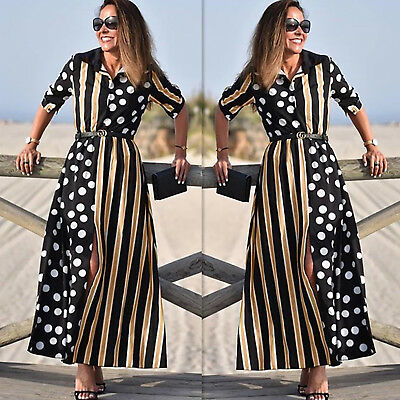 Womens Ladies Floral Spotted Long Dress Summer Beach Side Slit Maxi Sundress