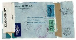 Martinique-Censored-Airmail-Cover-to-USA-Front-Only-see-note-Lot-101717