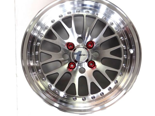 POLISHED AVID1 AV-12 15X8 +25 OFFSET 4X100 W/ TIRES FREE COLORED LUGS EF EG EK