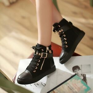 Women-039-s-Shoes-Flat-Canvas-Sneakers-Casual-Lace-Up-High-Top-Zip-Athletic-Shoes