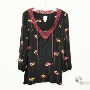 Anthropologie-Ric-Rac-Women-039-s-Sz-Large-Black-Maroon-Floral-Peasant-Blouse