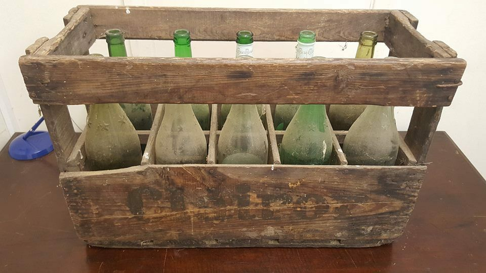 FRENCH WINE CRATE WITH 10 BOTTLES - Genuine Wooden Original Vintage Industrial