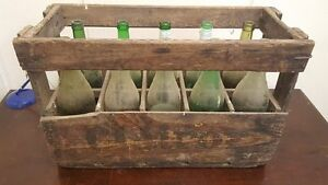 1 x 10 BOTTLE SIZE FRENCH WINE CRATE -Genuine Wooden Original Vintage Industrial