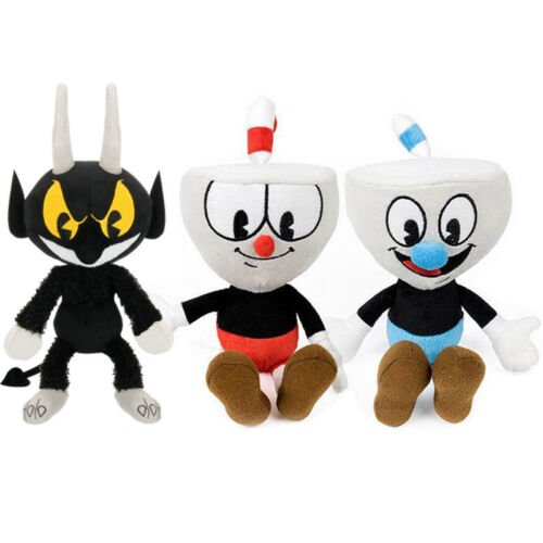 "10/"" Cuphead Game Mugman Devil Demon Carnation Mecup Brocup Plush Xmas Gift Toy"