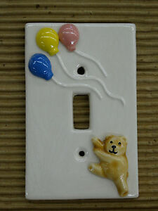 Contemporary Switched Wall Lights : Vintage Ceramic Nursery Baby Kids Room Single Toggle Wall Light Switch Plate eBay
