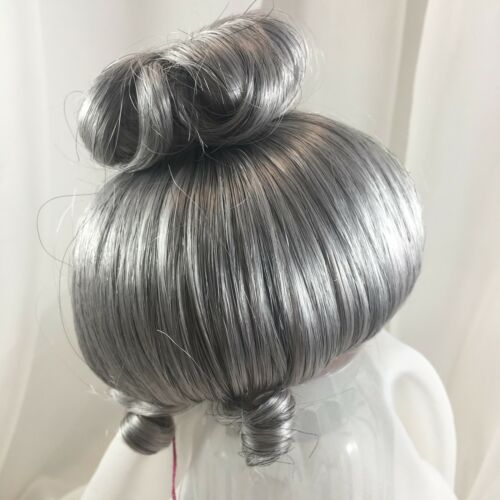 "7//8"" Updo Bun Curls Grey Doll Wig Reborn OOAK BJD Bisque Ceramic GIBSON"