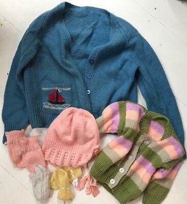 6 Sei Vintage Children's Hand Knitted Oggetti-vari Disegni, Colori Taglie-s Sizes It-it Mostra Il Titolo Originale